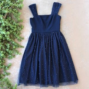 Gal Meets Glam Delores Navy Pearl Fit Flare Dress